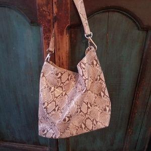 Handbags - Faux Snakeskin Handbag. Large